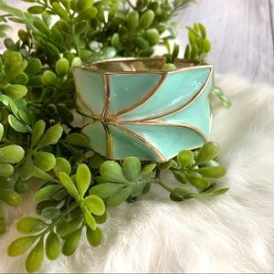 Wide Mint Green and Gold Bracelet Cuff